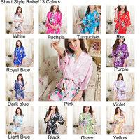 Free Shipping 2013 Hot Sales Sexy  Short Silk Satin Kimono Robes For Woman Peacock Printed MOQ 1 PC