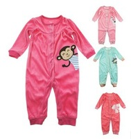 Free Shipping  Retail 2013 New Carter's High Quality Microfleece Long Sleeves Pink Red Green Rompers for Baby Girl 3M 6M 9M 12M