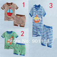 New arrival wholesale baby clothing striped set top shirt+pants 2 piece clothing suit & size 80-90-100
