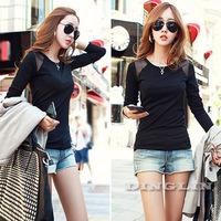 2014 New Korean Womens Ladies Clothing O-Neck Long Sleeve Slim Casual Black Tops Shirts T-Shirt Pullover Bottoming Fall SML 1162