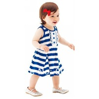 New arrival wholesale top quality 100% cotton dresses fashion summer baby girl's striped clothes toddler's comfy dress