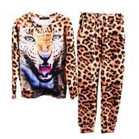 Hight Quality Hotsale Autumn Animal Leopard Tiger 3D Print Sport Sweater Hoodie Suit Sportswear for Women Sweatshirt WH-094