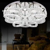 free shipping Brief petals stainless steel led crystal lamp modern circle living room lights crystal lighting villa lamp