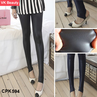 Women's LUXURY Imitation leather trample feet   Over heels Warm Foot Tights leggings  Slim fit  anchored pants VK   CPK594