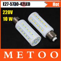 10W E27 LED Light 42 LEDs SMD  5730 1680LM 360 degree LED Corn Bulb 220V Warm White / White Energy Efficient led  Lamp 1Pcs/Lot
