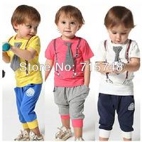 Sets cheapest children baby boys short clothes suits set kids gentleman summer shirt tshirt+ pants+fake tie sets suit