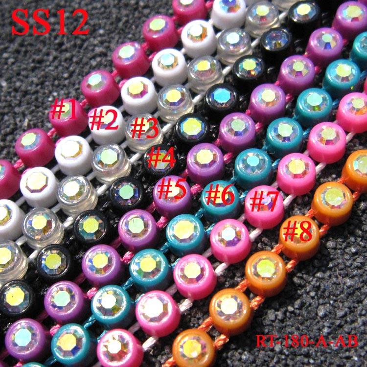 SS12 AB Rhinestone Banding ,Colorful Base ,10Yards/Lot,Total 8 Colors Crystal Rhinestone Triming(China (Mainland))