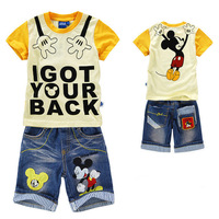 New 2014 Autumn-summer Conjuntos Kids Clothes Sets Cartoon Mouse Tracksuit Boy's t shirt + Denim Shorts Baby Boy Clothing Set