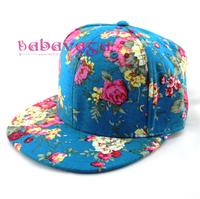 Fashion Flowers Turquoise 7 Panel Hat Snapback Hip-Hop Adult Adjustable Baseball Cap Free Shipping