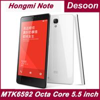Original 5.5 inch Xiaomi Hongmi Note redmi 4G FDD LTE MTK6592 Octa Core 1.6Ghz 2GB RAM 8GB ROM MIUI SmartPhone 3200mah/Koccis