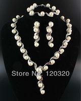 (Min order $10,Mix Order ) Fashion Women's Crystal Pearl Silver Choker Necklace Bracelet Earrings Set WS226