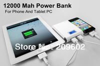 Free shipping Good quality 12000mah Power Bank/External Battery Charger Factory Wholesale for All Mobile Phone And Tablet PC