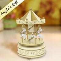 Wooden Carousel music box, clockwork wooden music box,  merry go around Christmas gift   free shipping