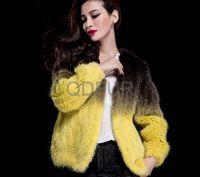 2014 European Gradient Ramp Natural Knitted  Mink Fur Jacket Coat Winter Women Fur Outerwear Coats Garment QD29650