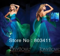 PROMOTION!! Freeshipping 2013 New Arrival Cheap Formal Colorful Women Gown Strapless Long Blue Green Chiffon  Evening Dresses