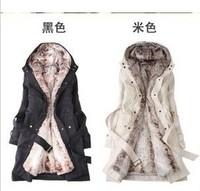 Big Size XXXL Faux Fur Lining Women's Fur Hoodies Ladies Coats Winter Warm Long Coat Jacket Cotton Clothes Thermal Parkas E 36