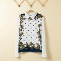 Ladies Blue Star  Pattern Fashion Chiffon Turn down Collar  Blouse Ladies Sweet Shirt,SW7117-H03