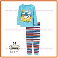 15 August Boys Snowman Pajamas Sets Kids Autumn -Summer Clothing Set New 2014 Wholesale Children Cartoon Pyjamas H005