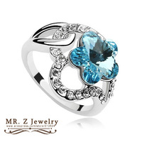 High Quality New 2014 Fashion Jewelry Austrian Crystal Flower Ring Rings For Woman Free Shipping