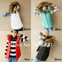 2013 women's fashion elegant sweet slim solid color zipper fur collar vest