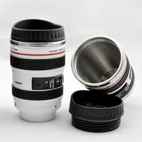 wholesale 60pcs/lots stainless steel liner travel EF24-105 Coffee camera lens mug cup hood lid 480ml caniam LOGO printed