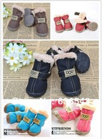 Free Shipping  Pet  Dog Shoes Warm  Winter  Boot  Puppy  Shoes  Dog Shoes Cat  Shoes Teddy Shoes In 4 Colors XS/S/M/L/XL