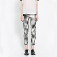 Autumn 2014 new European and American fashion boutique Houndstooth Women's casual pants striped frame WXK0252