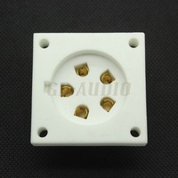 FREE SHIPPING 4pcs ceramic P5A 5pin chassis mount tube socket for Aa, Ba, Be, Cd,Ce,Da,P5Gi Golden Plated Feet
