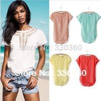 2013 Hot Sale Women European Style Famous Brand Carved Hollow Chiffon Shirt Short-Sleeve T Shirt  Camisetas Femininas Free Ship