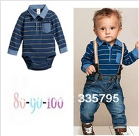 retail 2013 new children leisure sets boy's pure cotton striped romper + suspender trousers jeans suit kid romper+pants