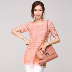 Elegant fashion Long Design Short Sleeve Lace Top Blouses Shirts