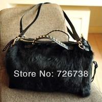 Free shipping 2013 New arrival hot-selling fashion women's rivet rabbit fur handbag black cross-body shoulder bag for ladies