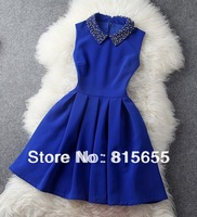 new 2014 autumn winter designer women's dresses beading collar ball gown sleeveless fashion vintage brand event dress