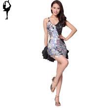 High-Grade Sequins Latin Dance  Ballroom Dance Dress Free Shipping Tango Dress Women(China (Mainland))