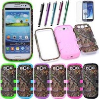 1pc/lot Free Shipping Triple Layer Hybrid Real Tree Camo Hard Case Cover for Samsung Galaxy S3 I9300