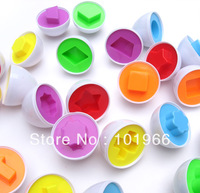 Wholesale 10x6Eggs/Set(10Sets/Lot) Pairings Smart Capsule Egg Children Study Color Shape Blocks Educational Toys Free Shipping