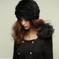 Hot Sale Genuine Knit Rabbit Fur Hat Nature Knitted Cap Various Fashion Women Headgear Headdress