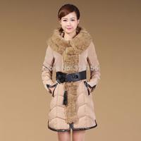 2014 new Women's Winter Jacket Fashion Luxury Rabbit Fur Collar Medium-long Thickening Female Down Coat Free Shipping