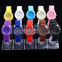 1 pcs fashion Unisex Geneva Silicone Jelly Gel Quartz Analog Sports Wrist Watch YKS technology