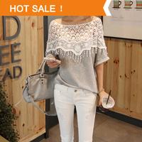 Women Lace Shirt 2014 New Fashion Handmade Crochet Cape Collar Batwing Sleeve Blouse Brand Medium-long T-shirt Cardigan Tops