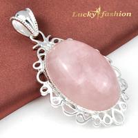 2014  elegant charm silver -plated Huge Pink Topaz wedding jewelry dangle crystal pendant