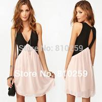 A766 2014 summer Women new fashion Sexy Patchwork Back Hollow out Deep V-neck Sleeveless Chiffon Dress Vest Dress Plus Size XL