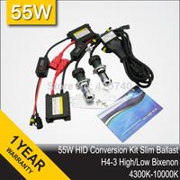 Free Shipping 55W DC 9004 9007 H13 H4 HID Bi xenon Bixenon High And Low Conversion Headlight Kit 3000K 4300K 6000K 8000K 12000K
