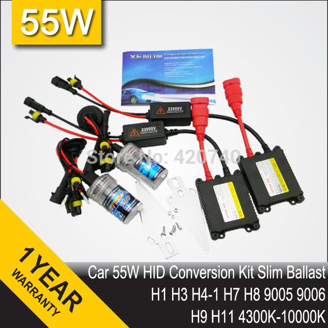 FREE SHIPPING 55W Single Beam DC 12V HID Xenon Slim Conversion Kit H1 H7 H3 H4 H8 9004 9007 9005 9006 H9 H10 H11 H13 HB3 HB4(China (Mainland))