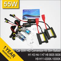 FREE SHIPPING 55W DC 12V HID Xenon Conversion Kit H1 H7 H3 H4 H8 9004 9007 9005 9006 H9 H10 H11 H13 HB3 HB4 Slim Ballast Blocks