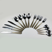 16pcs Golden plated Stainless Steel kitchen tableware sets talheres cutlery dinnerware silver flatware  Knife Spoon Fork sets