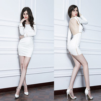 Style Number L1310 Long Sleeve Backless Low Back Tight fitting  Evening Party Prom Cocktail Dress