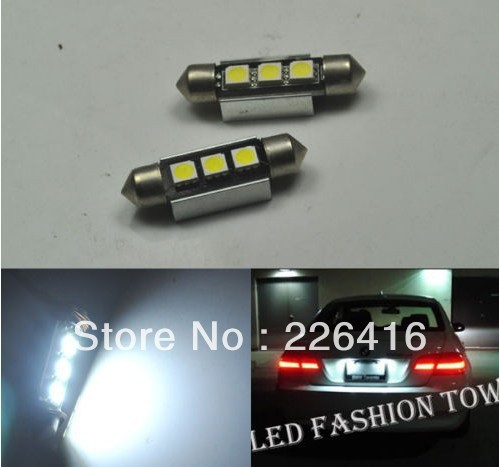 Free shipping,2pcs super bright White 36MM SMD LED License Number Plate Light Bulbs Canbus Xenon White 6000K VW Passat B5 B6(China (Mainland))
