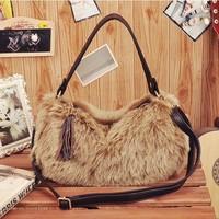 Free shipping 2013 Winter New arrival hot-selling fashion women's rabbit fur handbag cross-body tassel shoulder bags for ladies