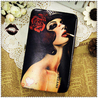 women wallets genuine leather wallet wallets designers brand for woman painting style unique personality Free shipping